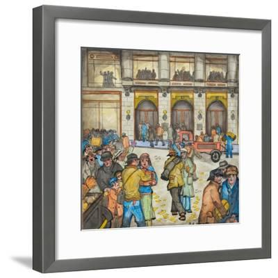 The County-City Building under Siege by Unemployed Demanding Work-Ronald Ginther-Framed Giclee Print