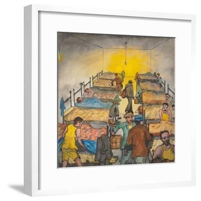 Some Men Looking for Bed Bugs before Crawling into Bed-Ronald Ginther-Framed Giclee Print
