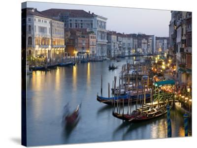 Outlook from Ponte Di Rialto Along Grand Canal at Dusk-David Tomlinson-Stretched Canvas Print