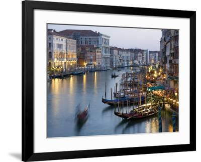 Outlook from Ponte Di Rialto Along Grand Canal at Dusk-David Tomlinson-Framed Photographic Print