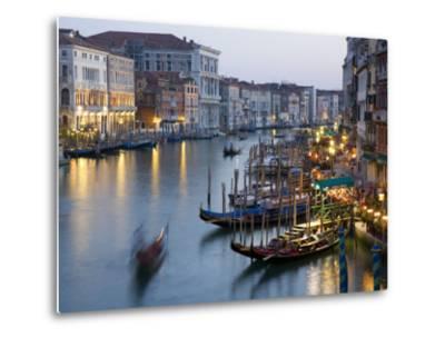 Outlook from Ponte Di Rialto Along Grand Canal at Dusk-David Tomlinson-Metal Print