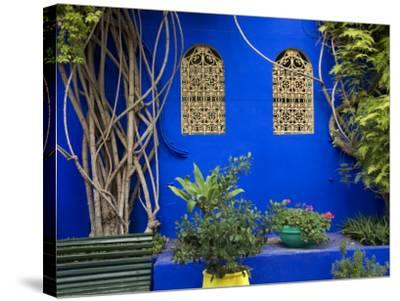 Blue Wall and Window Detail at Jardin Majorelle-Christopher Groenhout-Stretched Canvas Print