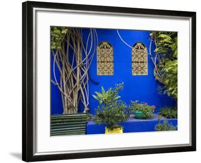 Blue Wall and Window Detail at Jardin Majorelle-Christopher Groenhout-Framed Photographic Print