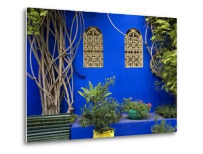 Blue Wall and Window Detail at Jardin Majorelle-Christopher Groenhout-Metal Print