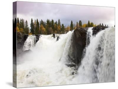 Waterfall and Forest in Autumn-Christer Fredriksson-Stretched Canvas Print