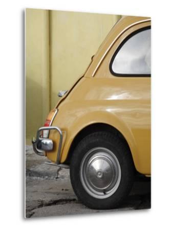 Yellow Fiat 500 Parked Against Wall, Gallipoli-David Borland-Metal Print