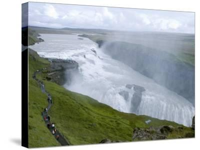 Gullfoss Waterfall on River Hvita-Holger Leue-Stretched Canvas Print