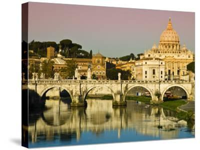 St Peter's Basilica from the Tiber River-Glenn Beanland-Stretched Canvas Print