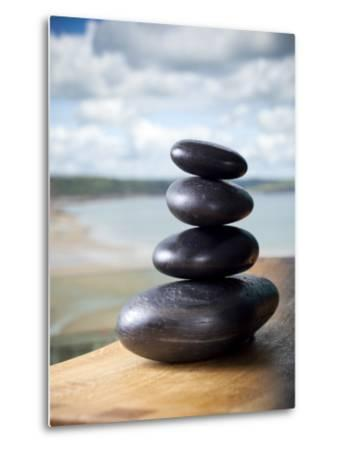 Hot Stones Spa Treatment at St. Brides Hotel and Spa with Saundersfoot Beach in Background-Huw Jones-Metal Print
