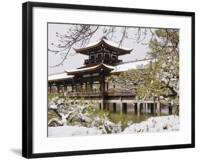 Snow Covered Chinese Style Bridge over Pond in Garden of Heian Shrine-Frank Carter-Framed Photographic Print