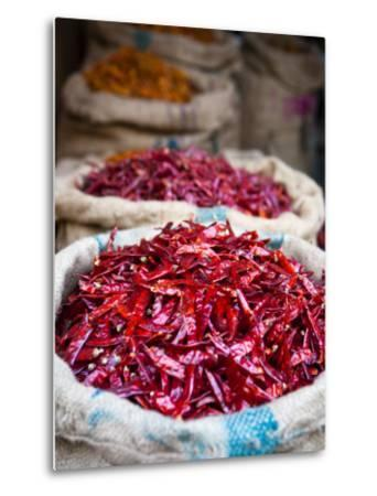 Dried Red Chillies at Spice Market-Huw Jones-Metal Print