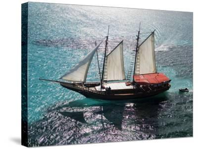 Aerial of Jolly Pirate Tourist Sail Boat Near Palm Beach-Holger Leue-Stretched Canvas Print