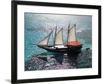 Aerial of Jolly Pirate Tourist Sail Boat Near Palm Beach-Holger Leue-Framed Photographic Print