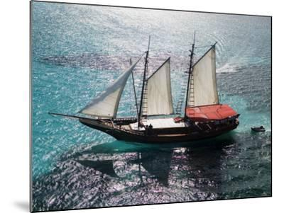 Aerial of Jolly Pirate Tourist Sail Boat Near Palm Beach-Holger Leue-Mounted Photographic Print