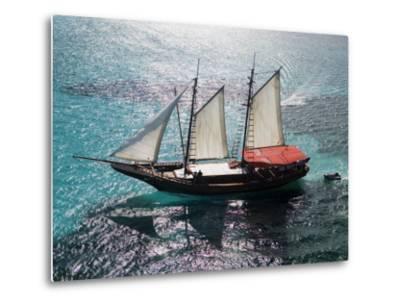 Aerial of Jolly Pirate Tourist Sail Boat Near Palm Beach-Holger Leue-Metal Print