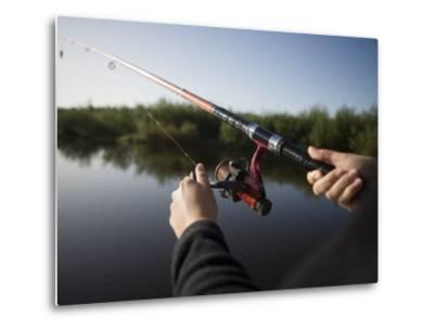 Fishing from Houseboat on Shannon-Erne Waterway-Holger Leue-Metal Print