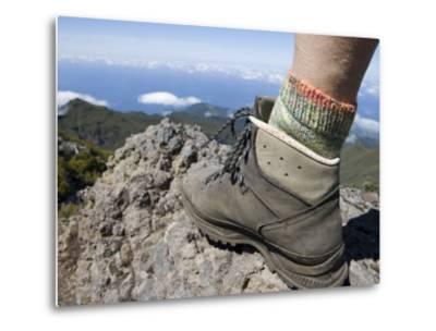 Hiker's Boot on Summit of Pico Ruivo Mountain-Holger Leue-Metal Print