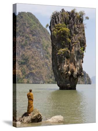 Thai Monk at Ko Phing Kan (James Bond Island)-Holger Leue-Stretched Canvas Print