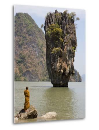Thai Monk at Ko Phing Kan (James Bond Island)-Holger Leue-Metal Print