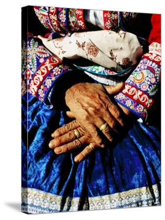 Close-Up of Hands of Woman Wearing Traditional Clothes-Jeffrey Becom-Stretched Canvas Print