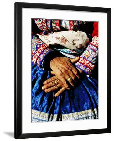 Close-Up of Hands of Woman Wearing Traditional Clothes-Jeffrey Becom-Framed Photographic Print