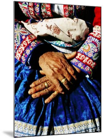 Close-Up of Hands of Woman Wearing Traditional Clothes-Jeffrey Becom-Mounted Photographic Print