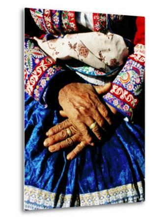 Close-Up of Hands of Woman Wearing Traditional Clothes-Jeffrey Becom-Metal Print
