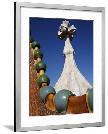 Ornate Mosaic Roof of Casa Batllo, Designed by Antoni Gaudi, in Gracia District-Kimberley Coole-Framed Photographic Print