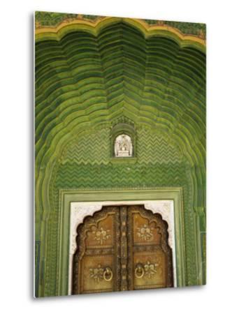 Detail of Green Gate, Pitam Niwas Chowk, City Palace-Kimberley Coole-Metal Print