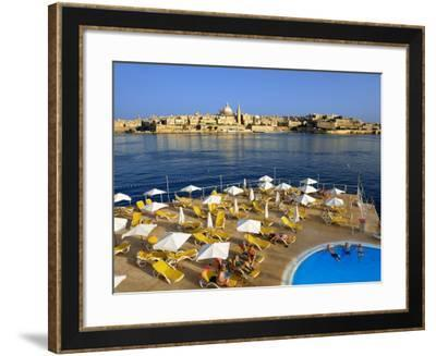 Valletta Skyline with Tourists Relaxing around Pool in Foreground-Jean-pierre Lescourret-Framed Photographic Print