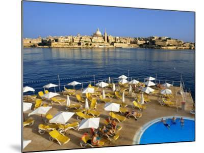 Valletta Skyline with Tourists Relaxing around Pool in Foreground-Jean-pierre Lescourret-Mounted Photographic Print