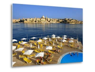 Valletta Skyline with Tourists Relaxing around Pool in Foreground-Jean-pierre Lescourret-Metal Print