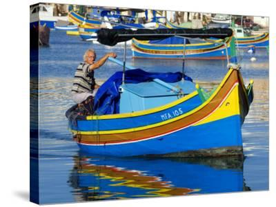 Fishing Boat in Marsaxlokk Harbour-Jean-pierre Lescourret-Stretched Canvas Print