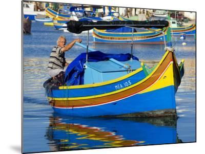 Fishing Boat in Marsaxlokk Harbour-Jean-pierre Lescourret-Mounted Photographic Print