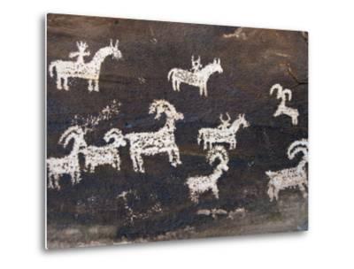 Ute Indian Petroglyphs-John Elk III-Metal Print