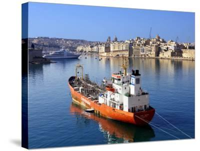 Boat Moored in Grand Harbour-Jean-pierre Lescourret-Stretched Canvas Print