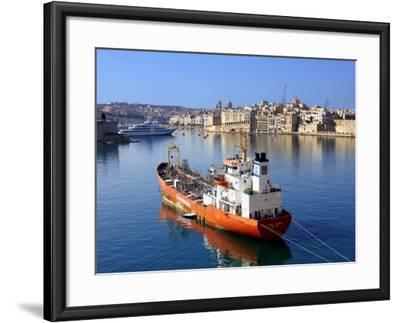 Boat Moored in Grand Harbour-Jean-pierre Lescourret-Framed Photographic Print