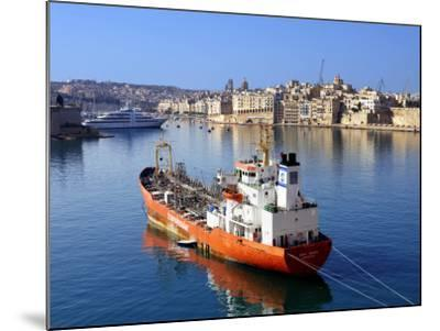 Boat Moored in Grand Harbour-Jean-pierre Lescourret-Mounted Photographic Print