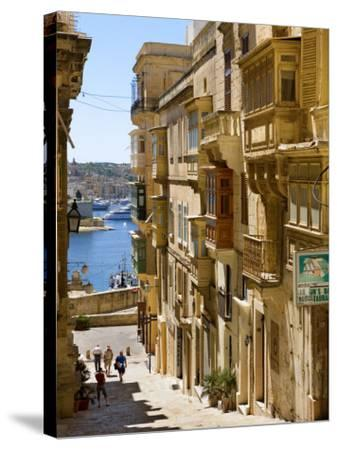 Street in Valletta-Jean-pierre Lescourret-Stretched Canvas Print