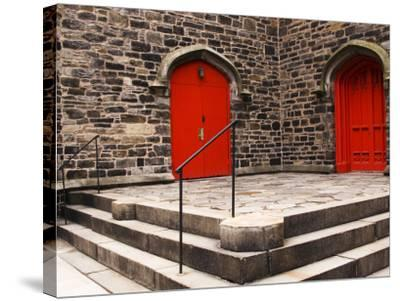 Bright Red Doors of Historic Chapel in Chelsea-Michelle Bennett-Stretched Canvas Print