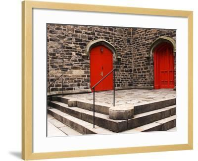 Bright Red Doors of Historic Chapel in Chelsea-Michelle Bennett-Framed Photographic Print