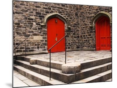 Bright Red Doors of Historic Chapel in Chelsea-Michelle Bennett-Mounted Photographic Print