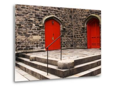 Bright Red Doors of Historic Chapel in Chelsea-Michelle Bennett-Metal Print