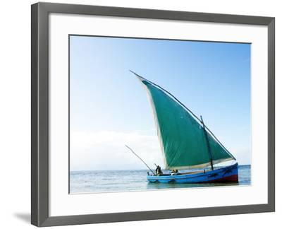Dhow Sailing Off Coast of Vilanculos-Oliver Strewe-Framed Photographic Print