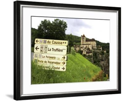 Tourist Signs Outside Village of St. Cirq Lapopie-Barbara Van Zanten-Framed Photographic Print