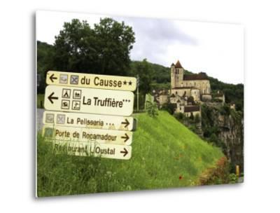 Tourist Signs Outside Village of St. Cirq Lapopie-Barbara Van Zanten-Metal Print