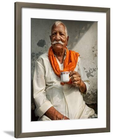 Man Drinking His Afternoon Chai-April Maciborka-Framed Photographic Print