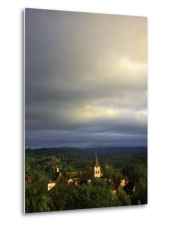 Morning Storm Clouds over Village of Carennac-Barbara Van Zanten-Metal Print
