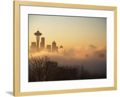 Morning Fog around Skyline with Sihouette of Space Needle and City Buildings-Aaron McCoy-Framed Photographic Print