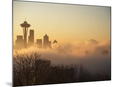 Morning Fog around Skyline with Sihouette of Space Needle and City Buildings-Aaron McCoy-Mounted Photographic Print